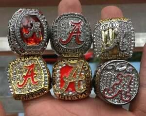 6 Pcs Collectors Alabama Crimson Tide National College Championship Rings Set