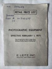 Leica Leitz 1971 Photographic Equipment Retail Price List original print