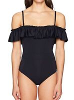 Bleu Rod Beattie Womens Swimwear Black Size 12 Ruffle Cold Off Shoulder $125 916