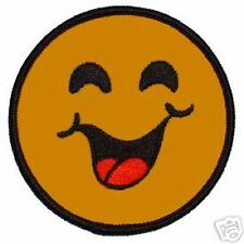 SMILIE FACE SMILEY LAUGHING NOVELTY EMBROIDERED PATCH