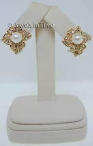 14K Yellow Gold Pearl & Pave Diamond Earrings
