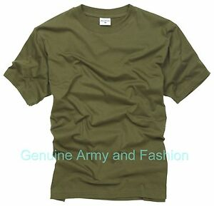Army T Shirt US Combat Military Tactical Style Cadet Short Sleeve Gym Top Olive