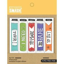 SMASH BOOK ACCESSORY - PAGE TABS - Journaling, Scrapbooking -75 Pieces - NEW