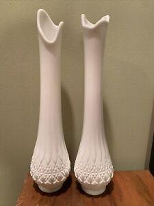 "Pair Of OVG White Milk Glass Stretch Swung Pedestal Vase 14 ""Vintage home decor"