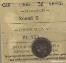 1900 Round 0 Canada Silver Five Cents Coin. KEY VARIETY ICCS VF-20