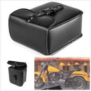 1 X Black Universal PU Leather Motorcycle ATV Side Storage Saddle Bag With Strap