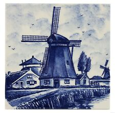 Blue Delft Vintage Ceramic Tile Rare Reproduction Majolica Netherlands Holland
