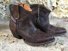 Authentic Charlie 1 Horse Womens 6M Brown Leather Western Cowboy Ankle Boots Zip