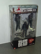 The Walking Dead MICHONNE W/ Zombie pets  bloody three pack  FREE SHIPPING !! !