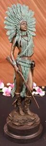 Sign Milo Native American Indian Girl Bronze Sculpture Figure Statue Figure SALE