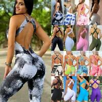Womens Sports Yoga Jumpsuit Pants Leggings Gym Workout Rompers Fitness Bodysuit