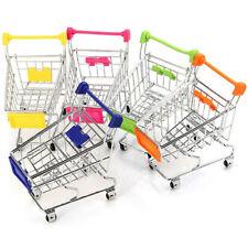 US_ Supermarket Hand Trolley Mini Shopping Cart Desktop Decor Storage Toy Kids G
