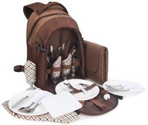 BRUBAKER Picknickrucksack 4 Personen mit Kühlfach und Picknickdecke Braun