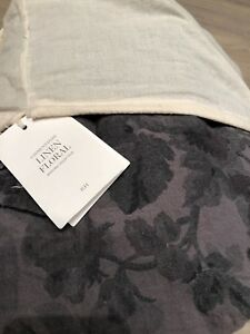 NWT Restoration Hardware Garment-Dyed Linen Floral Duvet Cover Graphite F/Q