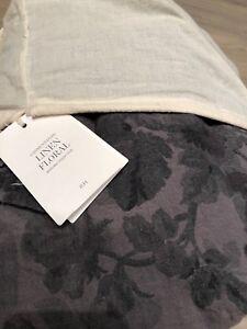 NWT Restoration Hardware Garment-Dyed Linen Floral Duvet Cover Graphite F/Q