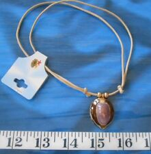 """~ Seashell Necklace ~ Tan Braided Slide ~ 12"""" to 24"""" ~ Purple/Brown Cowrie ~"""