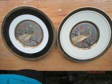 "Art of Chokin 7.75"" set of 2 plates 24K gold edged. Vintage"