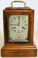 Antique French Rosewood & Boxwood Inlaid 8 Day Officers Mantle Carriage Clock