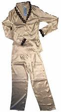 Sielei Gold Luxury Satin Pyjama Set Size 10 Long PJs pyjamas Long sleeves Sexy