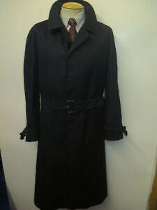 """Genuine Vintage Aquascutum Black Raincoat Trench Coat Mac 44"""" R Euro 54 R +Liner"""