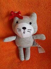 "M&S Marks & Spencer Grey Cat Kitten Soft Toy Baby Comforter 7"""