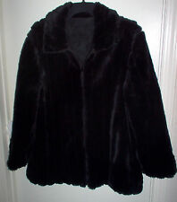 FAUX FUR COAT SIZE 18 BLACK REVERSIBLE WOMENS NEW FREE SHIP