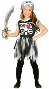 Girls Skeleton Pirate Costume Halloween Horror Zombie Scary Fancy Dress Outfit