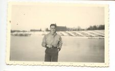 Portrait homme paysage  photo ancienne tampon Stalag an. 1940