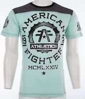 AMERICAN FIGHTER Mens T-Shirt MARYLAND Athletic BLACK MINT GREEN Biker $40