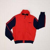 Vintage 1970s Adidas Bomber/Track Jacket Medium Red/Blue Trefoil Logo Padded