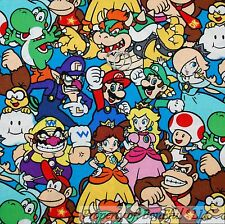 BonEful Fabric Cotton Quilt VTG Super HERO Mario Brothers Nintendo Boy USA SCRAP
