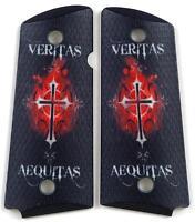 Custom Compact Officer 1911 Grips Ambidextrous Veritas Aequitas Colt Sig etc.