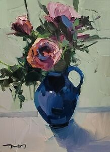 JOSE TRUJILLO Oil Painting IMPRESSIONISM Contemporary COLLECTIBLE FINE ART ROSES