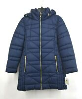 Anne Klein Womens Double Zip Puffer Jacket Long Sleeve Hood Front Zip Quilted M