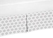 Grey & White Toddler Bed Skirt Dust Ruffle For Sweet Jojo Aztec Girl Bedding Set