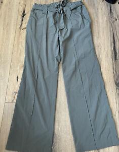 Athleta Size 8 Petite Destination Wide Leg Belted Pants Sage Green 152955 Read