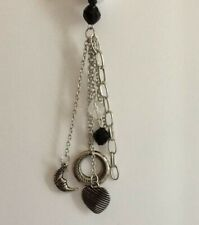 Paparazzi necklace & earring set silver black Fringe Tassel
