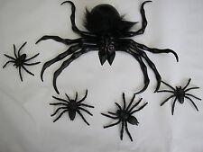 Halloween grande nero spaventoso ragno di gomma + 4 babys