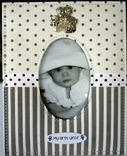BABY KEEPSAKE PHOTO FRAME WITH SILVER BEARS, RIBBON & VELVET STRIPES & SPOTS! BN