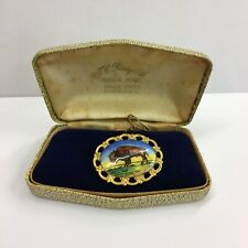 More details for vintage 1975 sterling silver gilt r.a.o.b order of buffaloes enamel brooch boxed