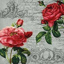 Servietten Zwei Rosen Blüten auf Briefpapier barock Motiv 33x33 Cm