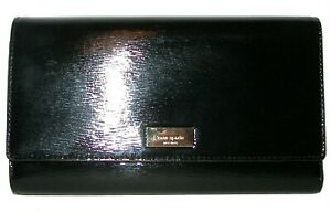 KATE SPADE Phoenix Spruce Black Leather Trifold Clutch Wallet NWT