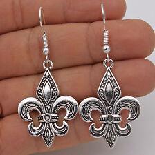 "925 Silver Plated Hook- 1.9"" Vintage Fleur-De-Lis Flower Lady Party Earrings #61"
