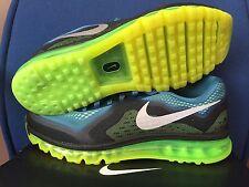 NIKE AIR MAX 2014 sz 12 BLUE SILVER LIME Green BLACK Men Running Shoe 621077 403