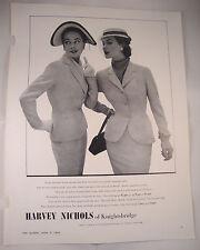 Full Page 1953 Vintage Magazine Advert Harvey Nichols Knightsbridge Summer Suits