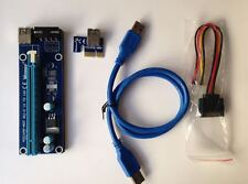 TWO USB3.0 1x to 16x Extender Riser Card Adapter SATA Power Cable PCI-E Express