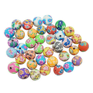30pcs Multi-Colors Polymer Clay Round Floral Spacer Beads for Jewelry DIY Making