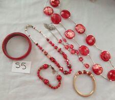 Red tone necklaces glass bead plastic bangles bracelets