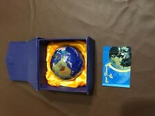 Blue World Globe Gemstone Inlay Semi Precious Stone Table Top Paperweight