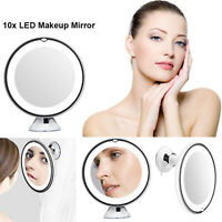"""6.8"""" 10X Magnifying LED Lighted Makeup Mirror Vanity Bathroom Travel Suction Cup"""
